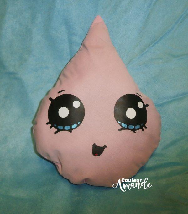 Coussin goutte d'eau rose