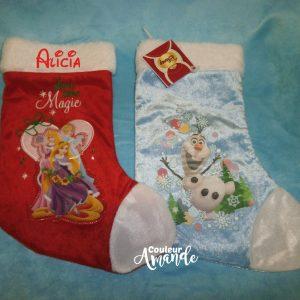 Chaussette de Noel Princesses ou Olaf