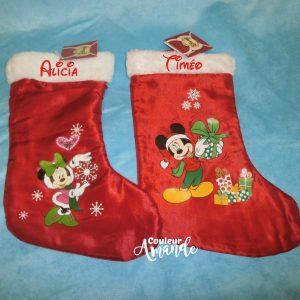 Chaussette de Noël Minnie ou Mickey